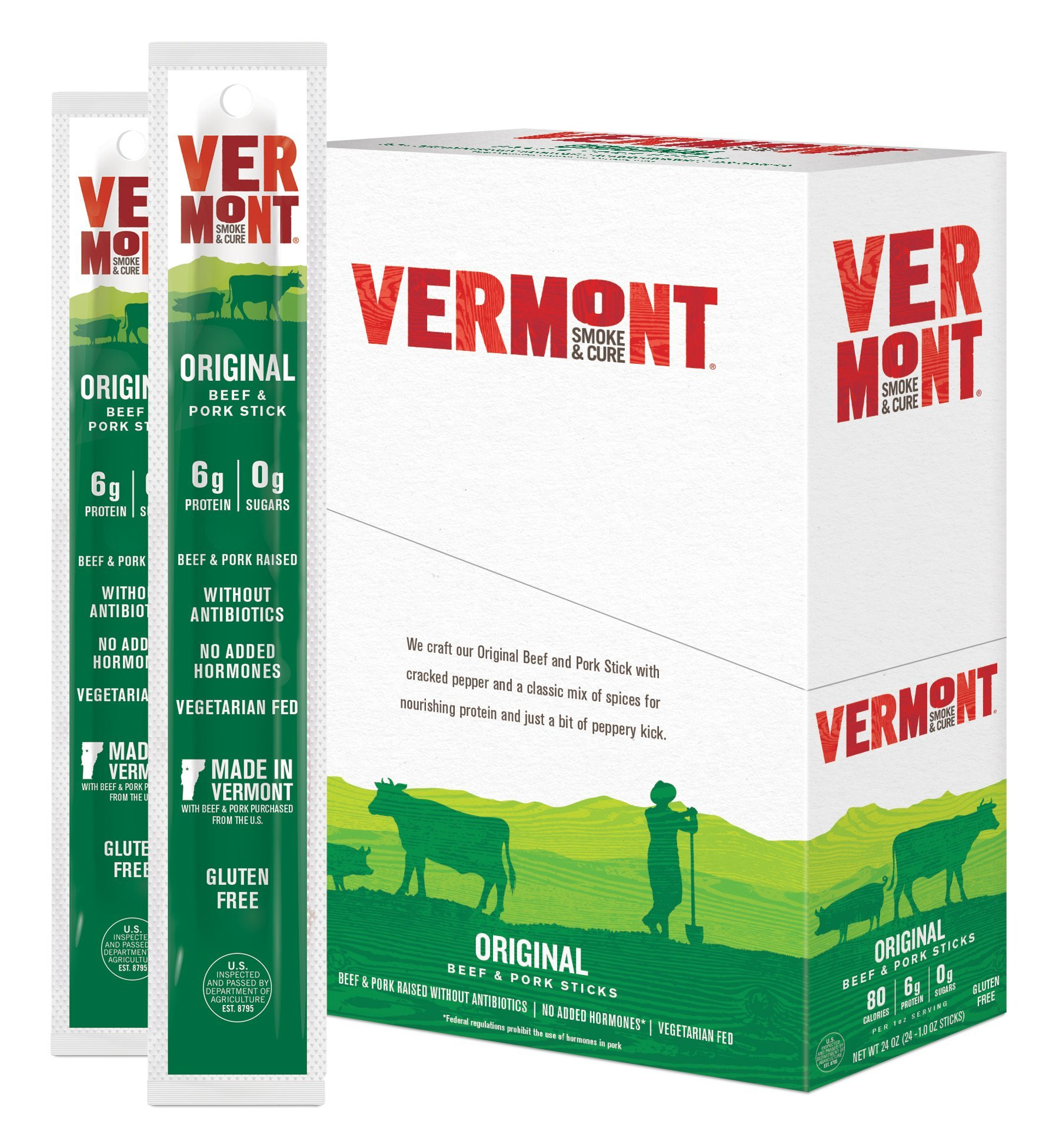 Vermont Smoke & Cure Meat Sticks- Antibiotic Free Beef & Pork -Gluten-Free Snack - Paleo and Keto Friendly - Cracked Pepper - 1oz Stick - 48 Count by Vermont Smoke and Cure (Image #2)