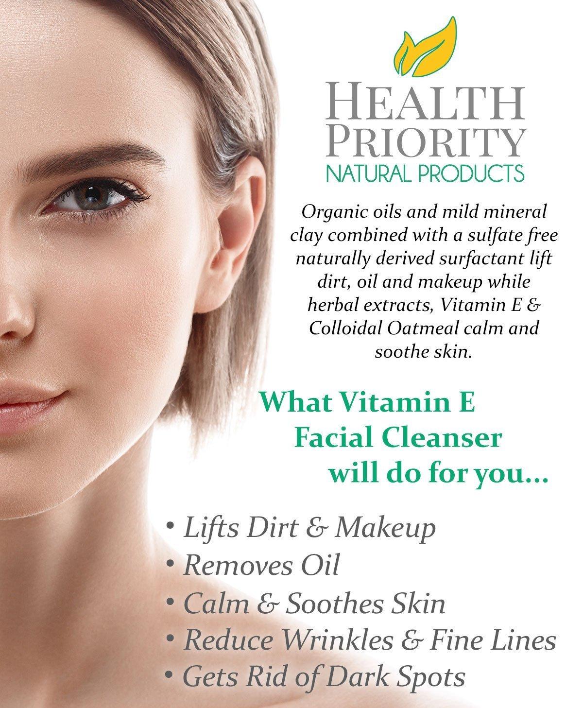 Limpiador facial con vitamina E 100% natural. El mejor limpiador facial para piel seca a grasa. El limpiador antiacné y antimanchas es mejor que el jabón.