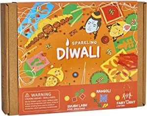 Indian Festival Diwali Themed Craft Kit for Kids and Adults | 3 Activities-in-1 | Great Gift for Boys and Girls 5 Years and Up | Make Your Own Shubh Labh Door Greetings, Diwali Lantern and Rangoli