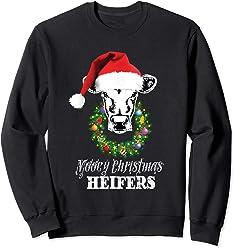 ba3ef95c Mooey christmas Heifers Cow Christmas lights Sweatshirt