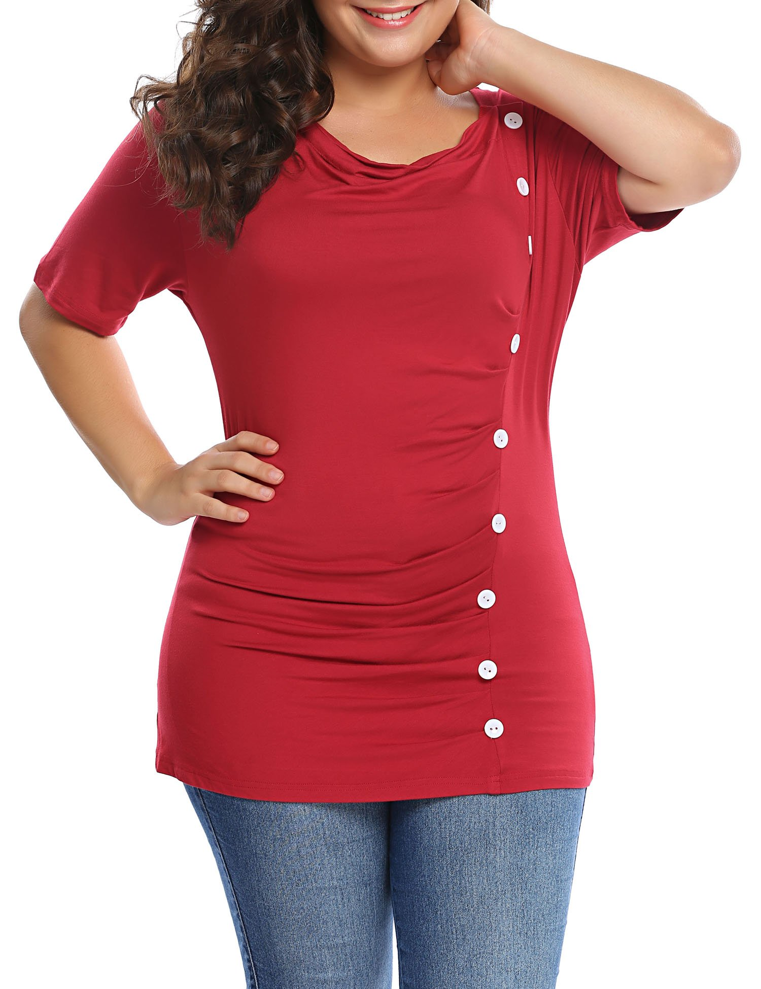 Involand Womens Plus Size Solid Short Sleeve T Shirt Draped Neck Button Front Top Blouse Tee,Wine Red,24 Plus