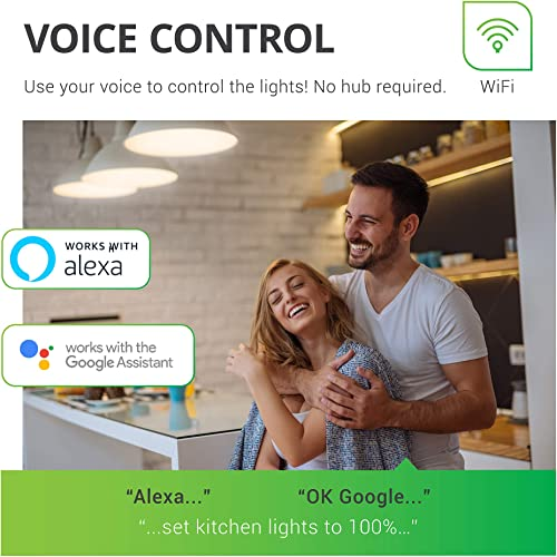 Sunco Lighting 10 Pack WiFi LED Smart Bulb, A19, 6W, Color Changing RGB CCT , Dimmable, 480 LM, Compatible with Amazon Alexa Google Assistant – No Hub Required