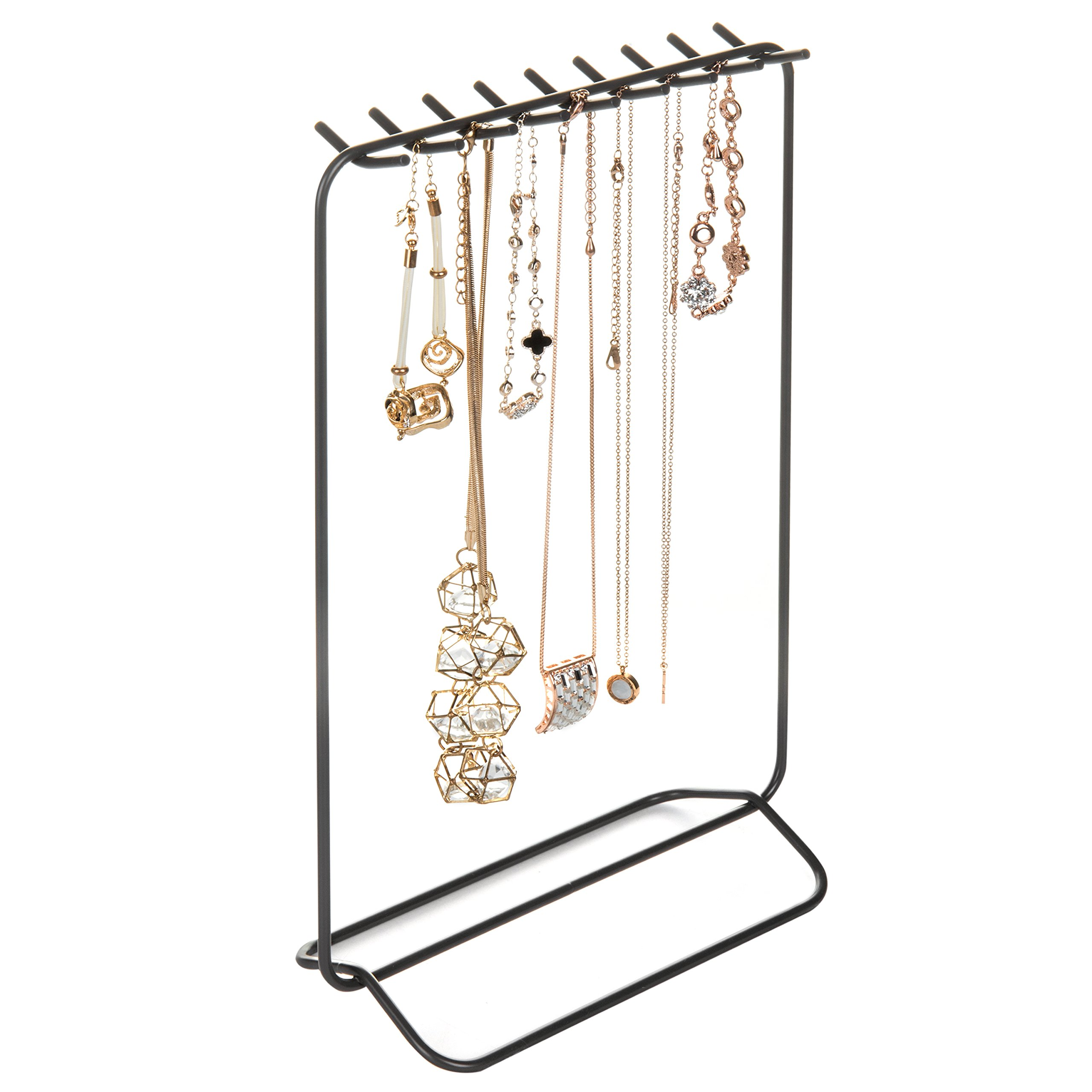 MyGift Grey Metal Necklace & Bracelet Display Stand with 18-Hooks