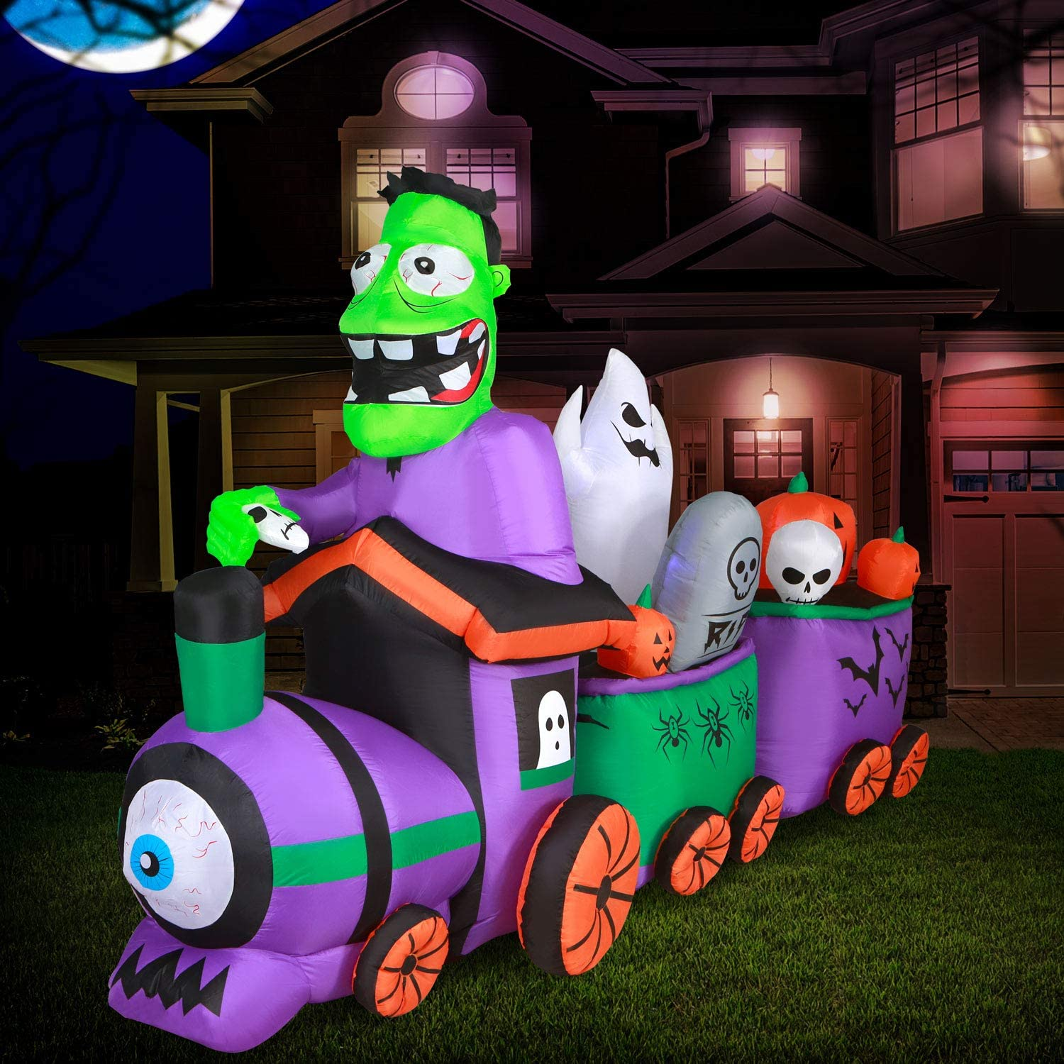 Holidayana Graveyard Train Halloween Inflatable -10 ft Long Graveyard Train Yard Inflatable Decoration with LED Lights, Built-in Fan, and Tie-Downs