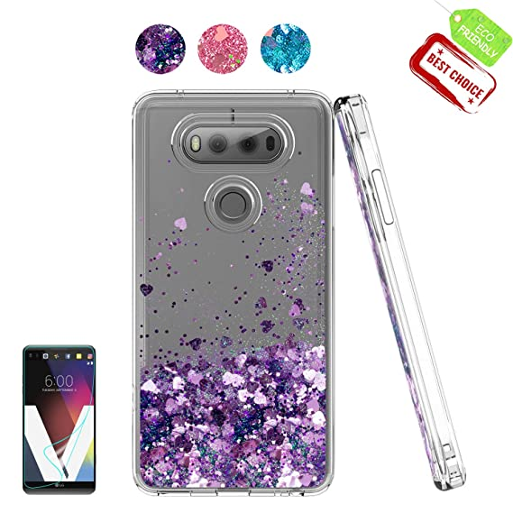 huge discount c575e 913f5 LG V20 Case,Shiny Glitter Moving Liquid Clear with TPU Bumper Protective  Back Cute Girls Case for LG V20 Purple