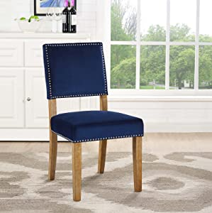 Modway Oblige Modern Farmhouse Performance Velvet Polyester Upholstered with Nailhead Trim, Dining Chair, Navy