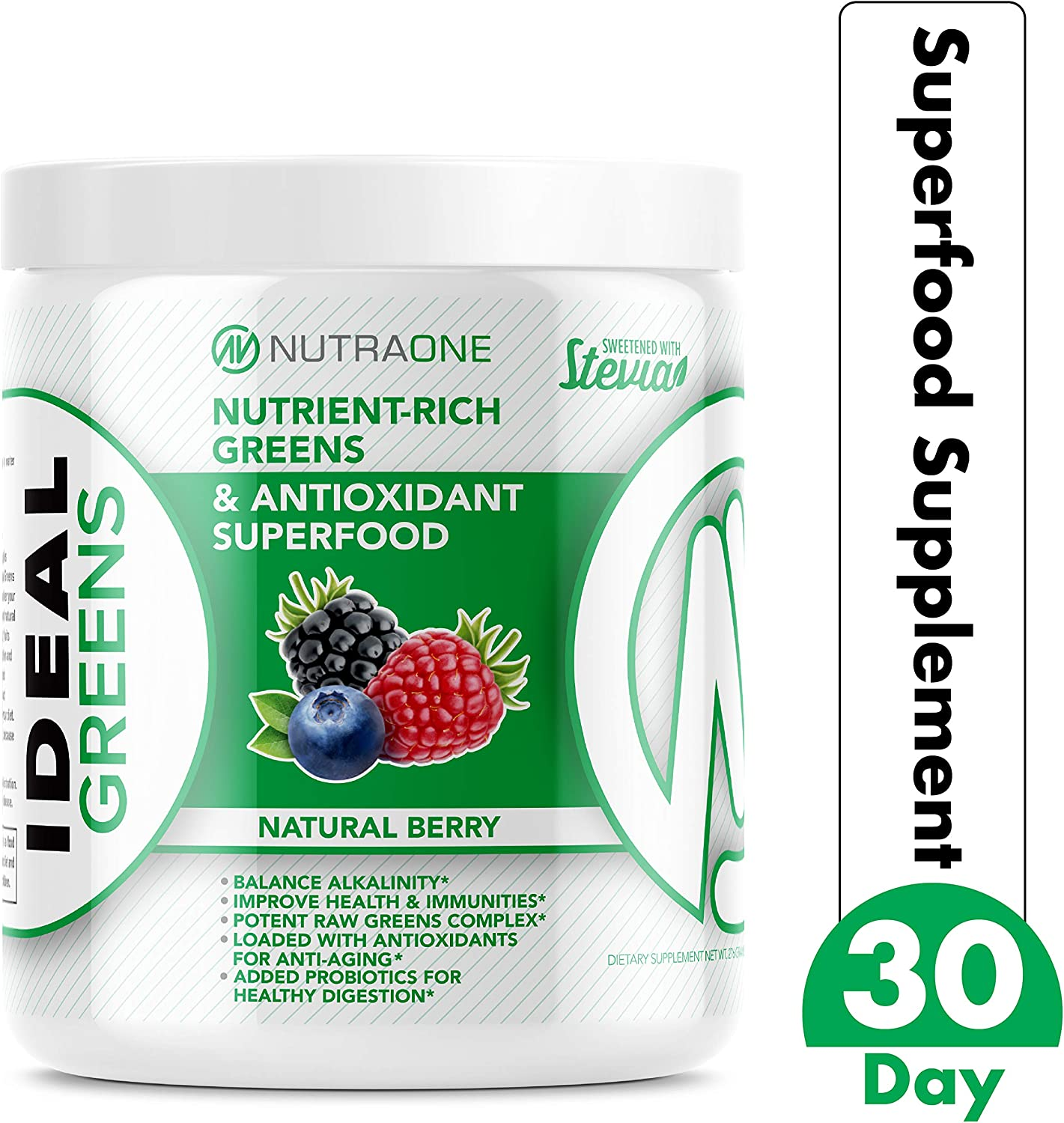Ideal Greens Superfood Greens Powder by NutraOne Powdered Antioxidant and Nutrient-Rich Superfood Supplement Natural Berry – 30 Servings