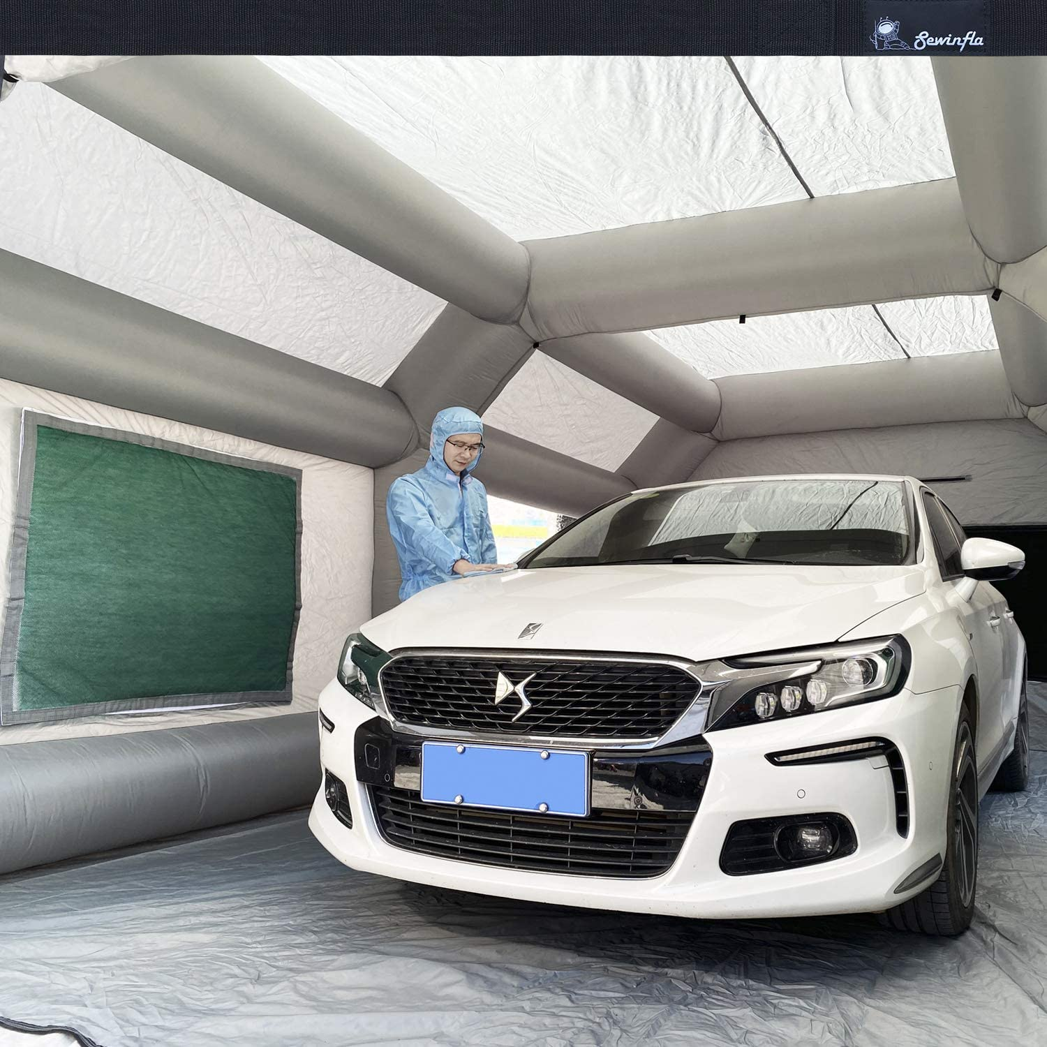Spray Booth Inflatable Paint Booth SEWINFLA Portable Car Painting Tent with Two Blowers Upgrade Air Filtration System Environment Friendly More Durable 33x16x11Ft Replacement Filters