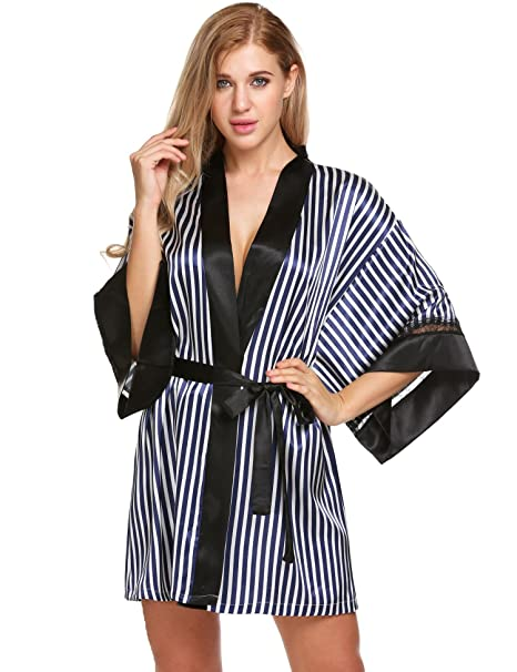 Asatr Women 3 4 Sleeve Striped Patchwork Satin Short Kimono Robe ... 15979052d