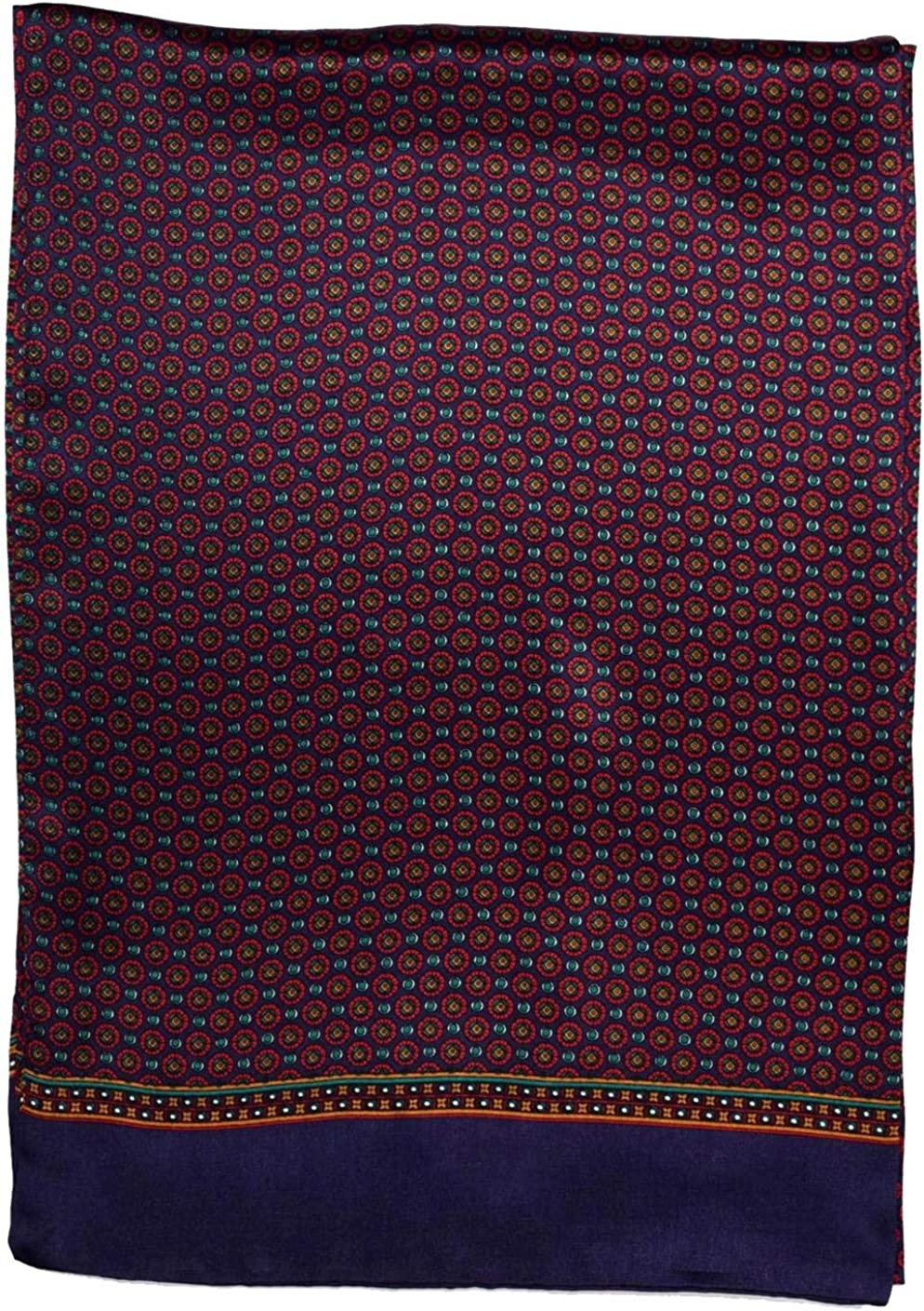 Navy Red Circles Printed Double Layer Long Pure-Silk Scarf