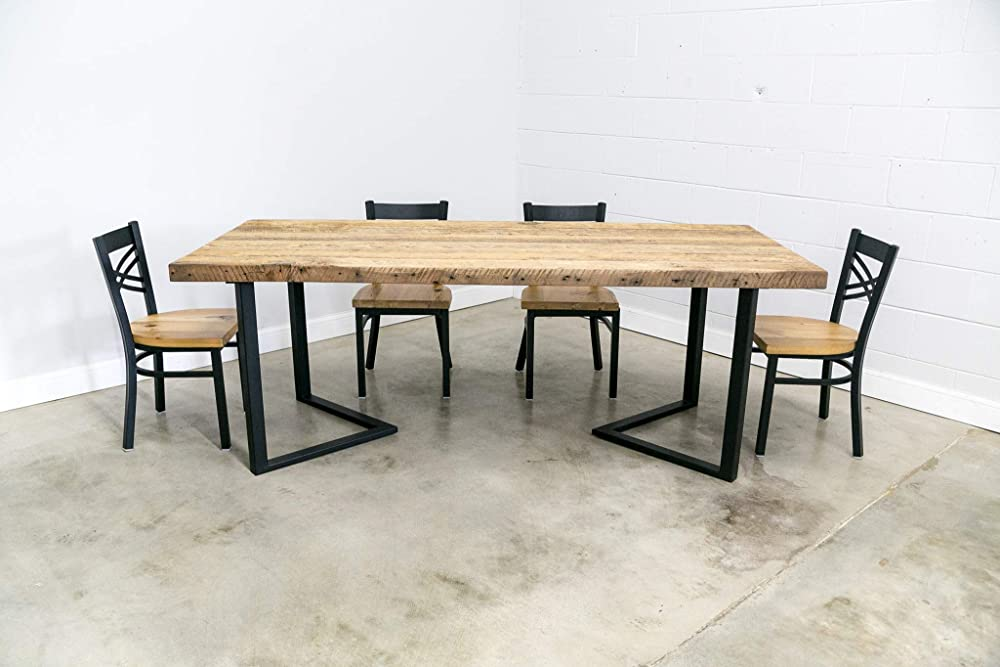 Amazon Com Modern Dining Table 2 5 Thick Reclaimed Wood Planks And Steel 6 Corner Base Choose From Size And Finish Custom Sizes Welcome Handmade