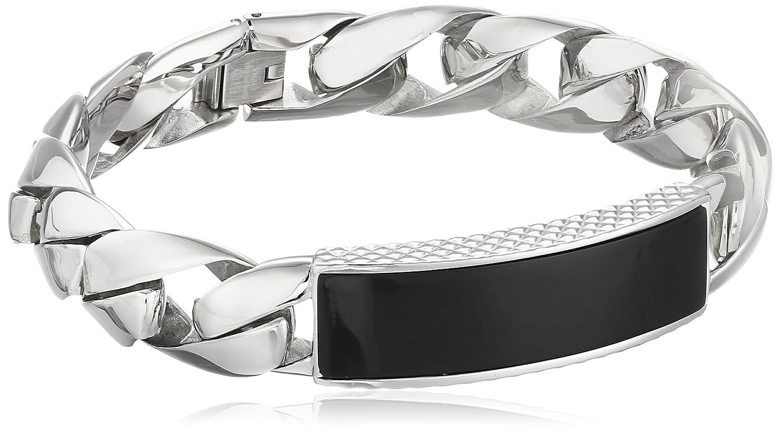 Amazon.com: Men\'s Stainless Steel Bracelet with Black Onyx, 8.5 ...