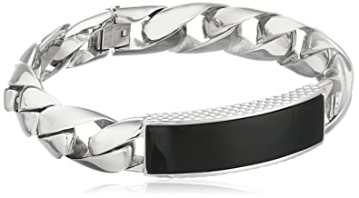 445f533009a931 Amazon.com: Men's Stainless Steel Bracelet with Black Onyx, 8.5 ...