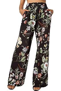 852a98367c8f BaiShengGT Damen Blumenmuster Locker Weite Beine Lange Hose mit  Seitentaschen