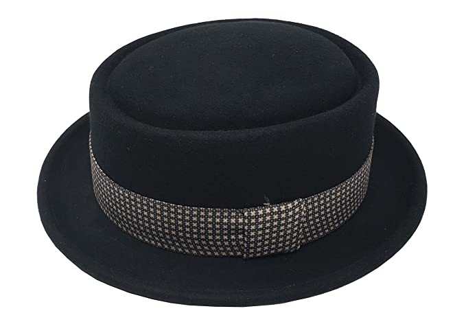 a6672ac5aab Differenttouch Men s 100% Wool Felt 53EH Round Top Pork Pie Short Brim  Upturn Fedora Hats