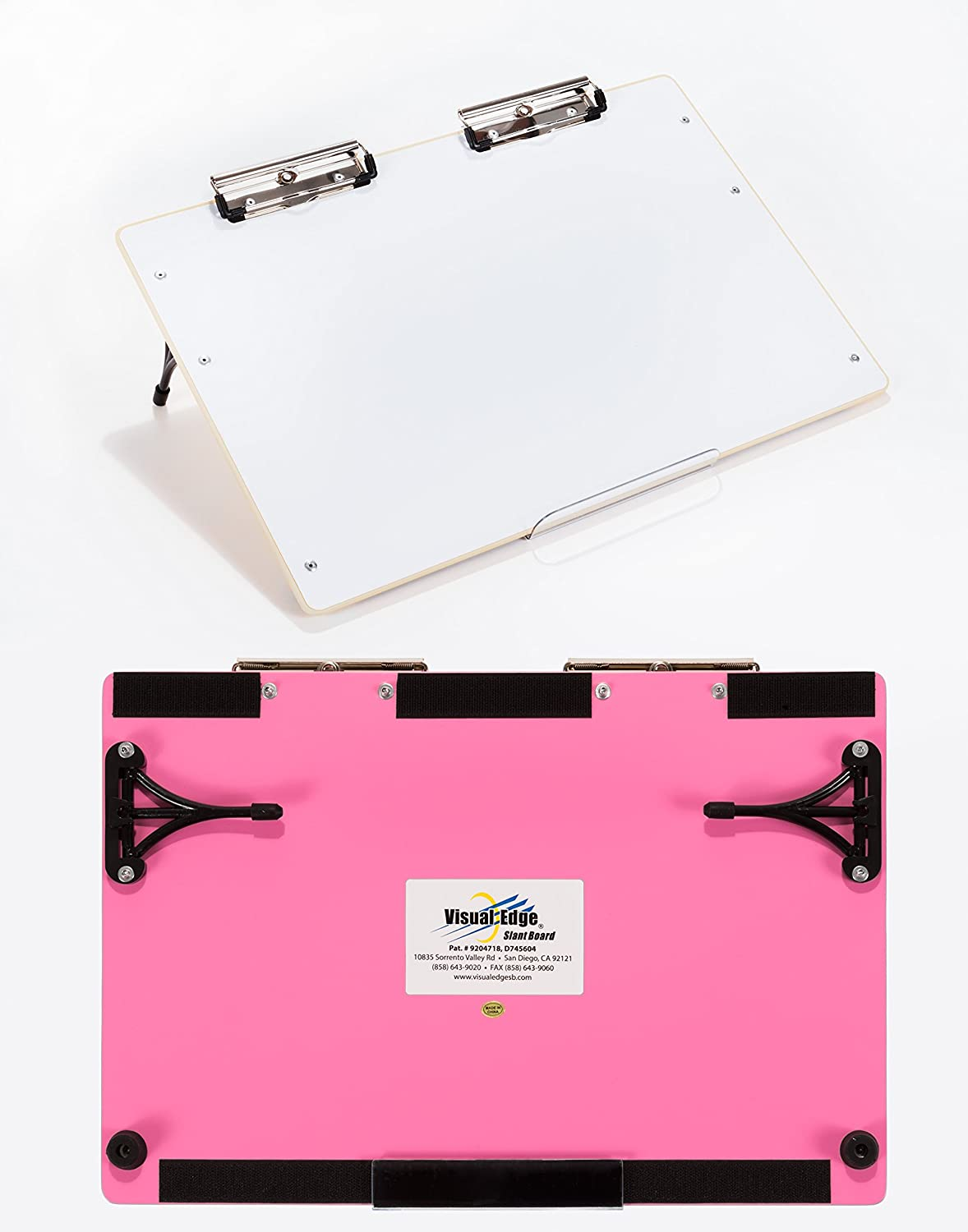 Visual Edge Slant Board (Pink), A Sloped Work Surface for Writing, Reading, Art and Speech for Optimal Learning - Portable Desktop Magnetic Dry Erase White Board with Clipboard for Kids