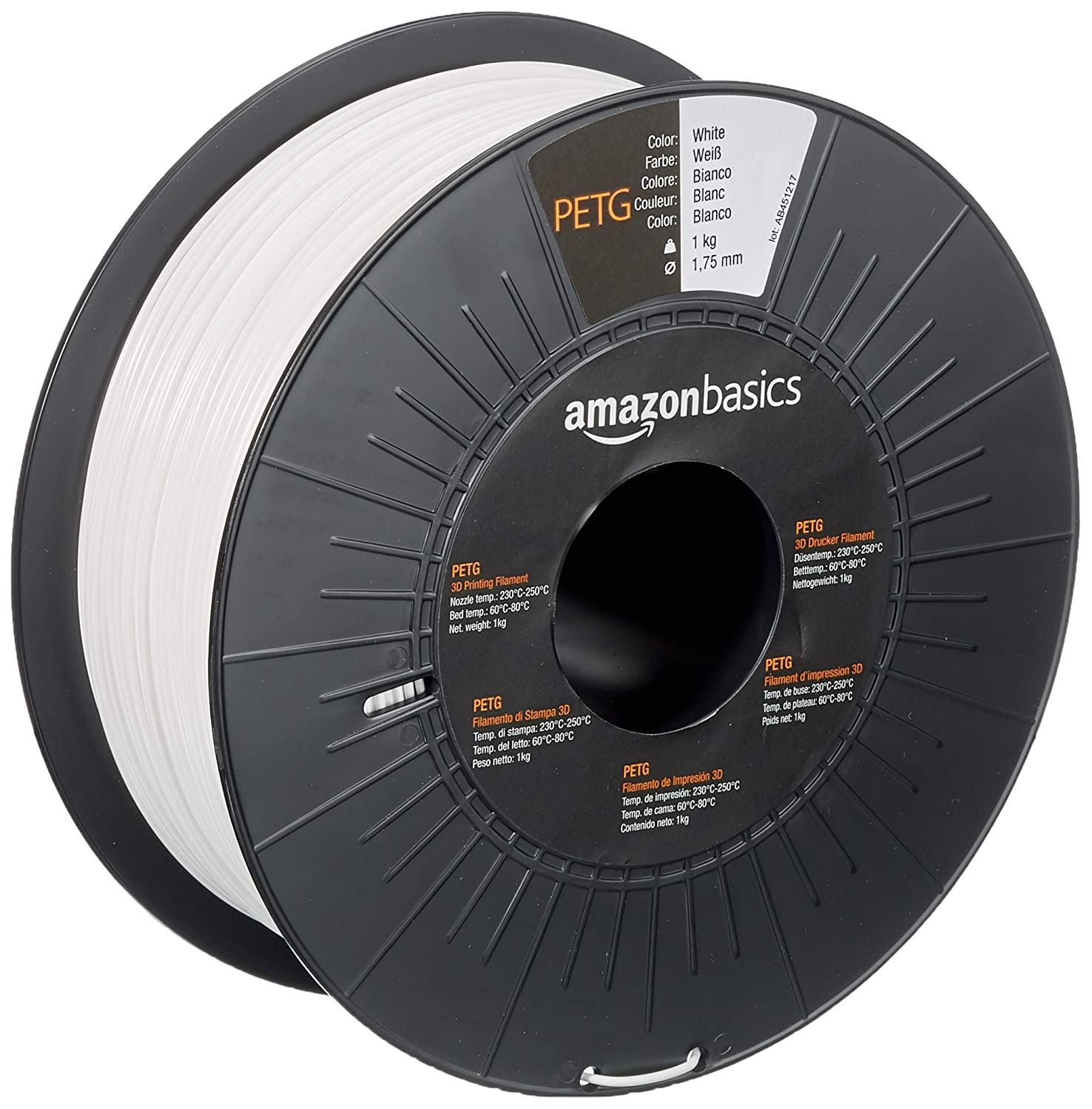 AmazonBasics PETG 3D Printer Filament, 1.75mm, White, 1 kg Spool