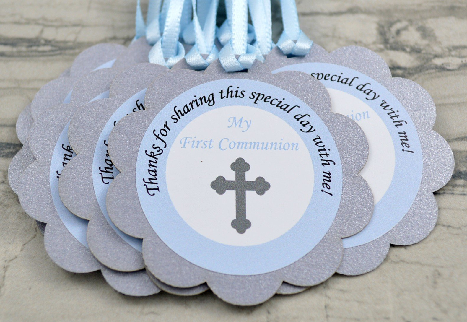 First Holy Communion Party Favor Tags in Light Blue and Silver - Set of 12