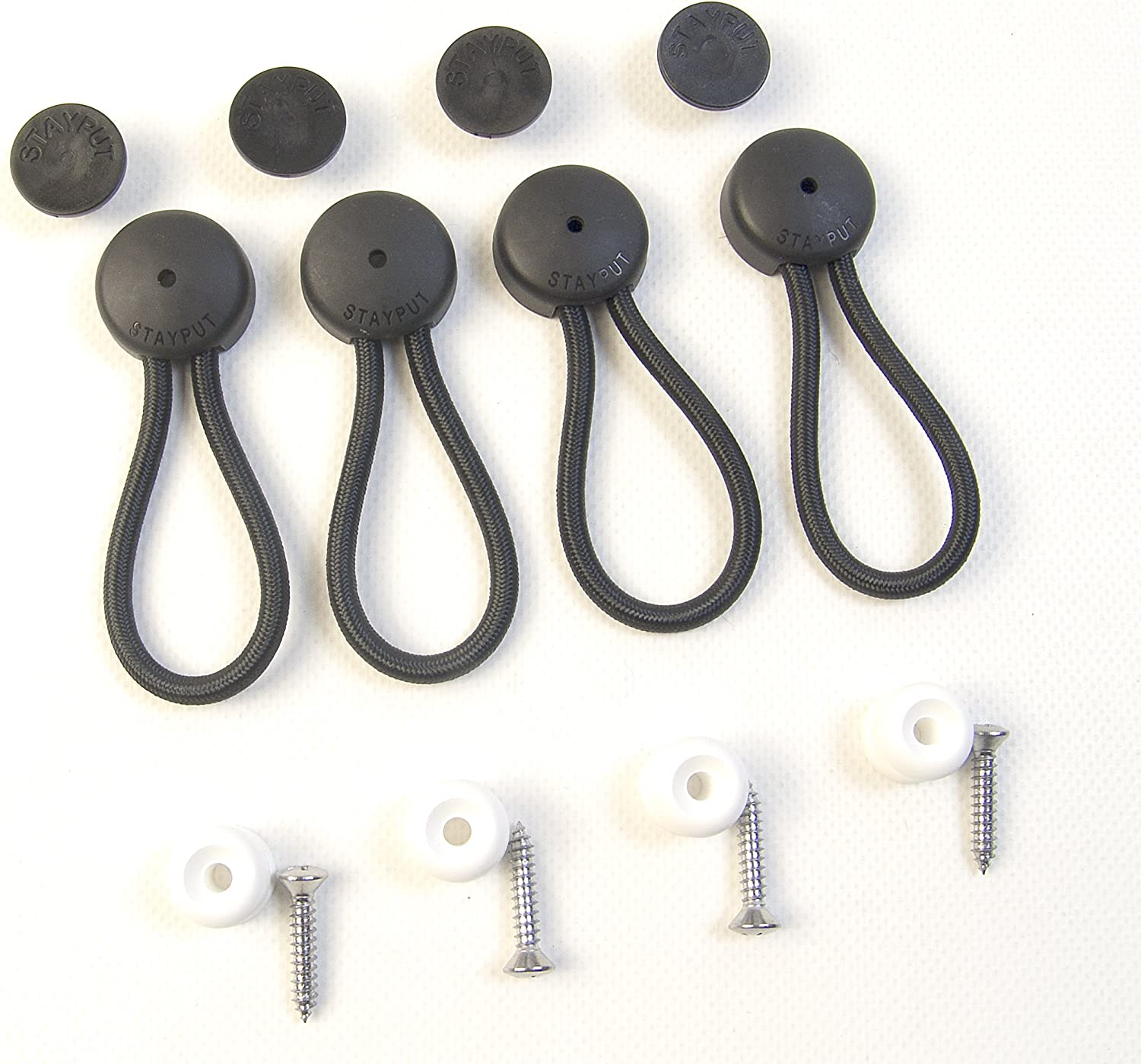 """Bungee Shock Cord Clip Fasteners White w// Knobs /""""Stayput/"""" Tie Down 4 Sets"""