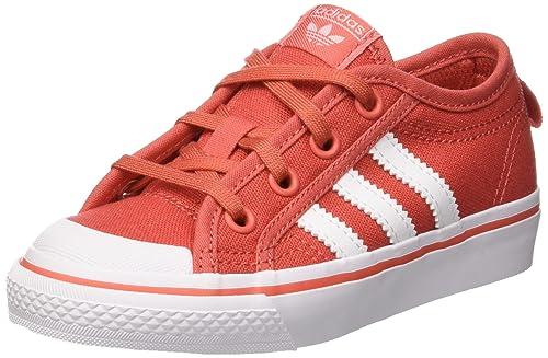 adidas Nizza C, Chaussures de Basketball Mixte Enfant, Rouge (Trascaftwwhtftwwht), 29