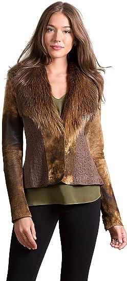 9e4a2cb36f6 Overland Sheepskin Co Savannah Lambskin Leather Jacket with Beaver ...