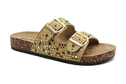 7c9903eb24c3 Alexis Bendel Peggy-55 Women Double Buckle Straps Sandals Flip Flop  Platform Footbed Sandals Beige