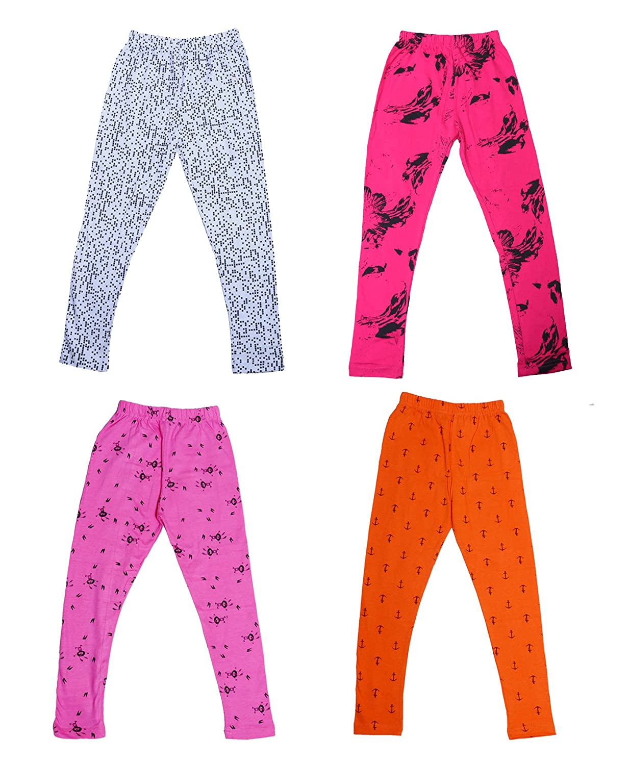 Pack of 4 Indistar Girls Super Soft and Stylish Cotton Printed Legging