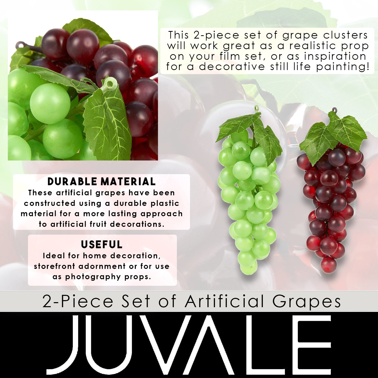 8 Inches Long Juvale F23 Kitchen Decor Fake Grape Purple And Green 2 Pack Artificial Fruit