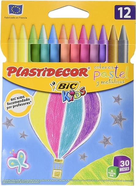 Ceras PLASTIDECOR Pastel Estuche DE 12: Amazon.es: Oficina y papelería