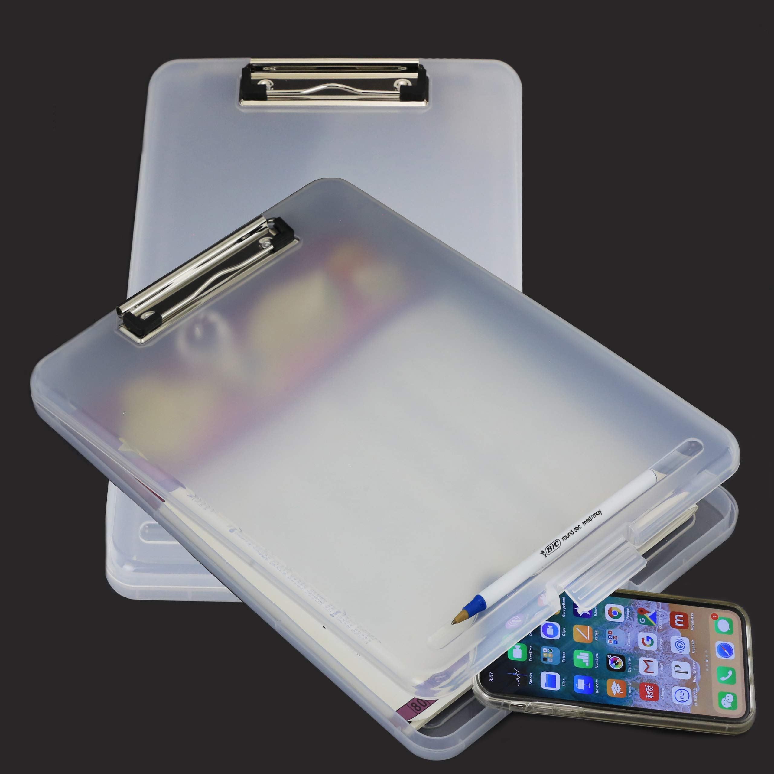 2PC Letter Size Plastic Storage Clipboard with Built-in Pen Holder by JC HUMMINGBIRD