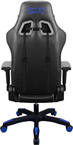 Raynor Gaming Energy Pro Series Gaming Chair Ergonomic Outlast Technology High-Back Racing Style Height Adjustable 4D Armrests Mesh and PU Leather with Lumbar Support Cushion and Headrest Pillow, Blue