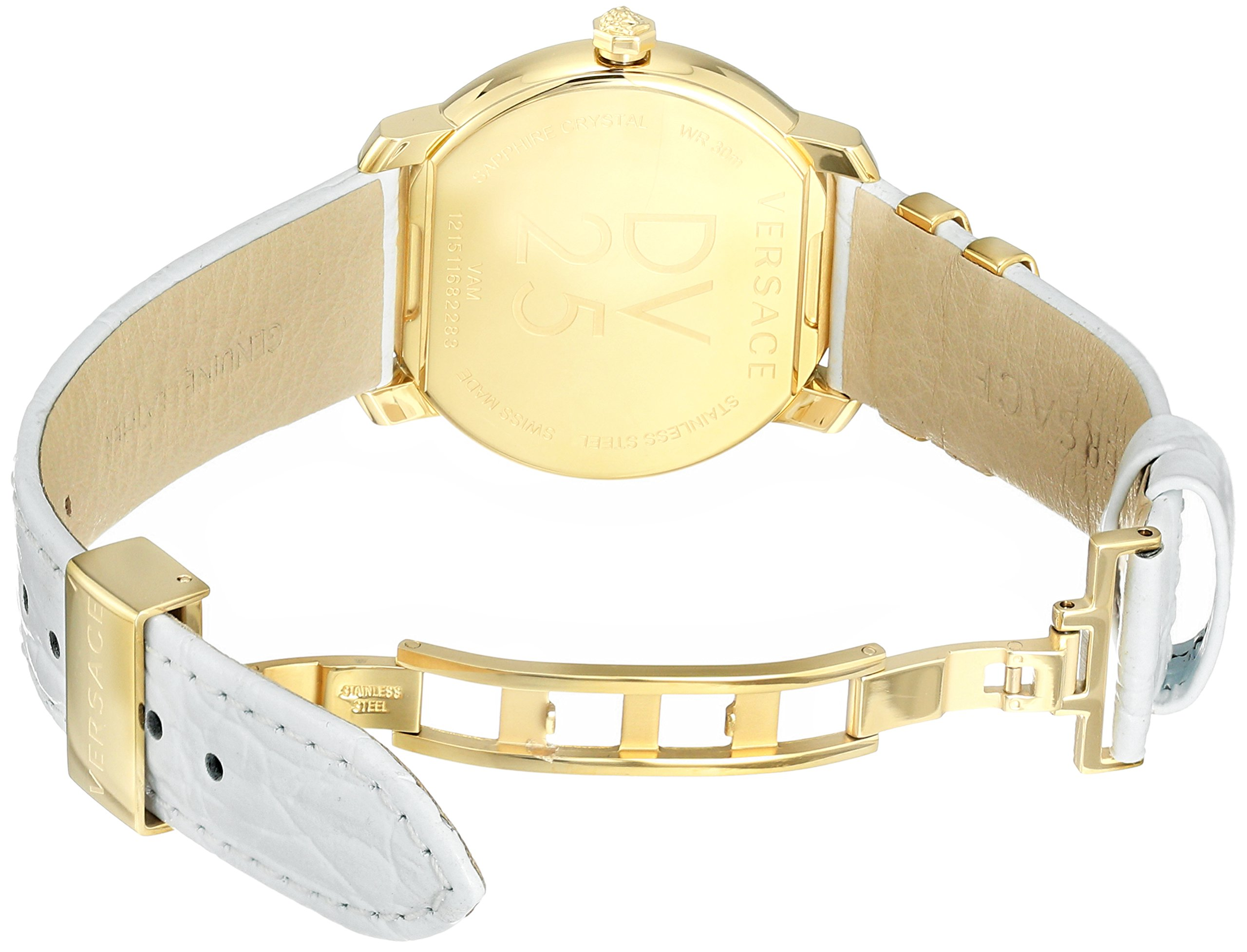 Versace Women's 'DV-25' Swiss Quartz Stainless Steel and Leather Casual Watch, Color:White (Model: VAM060016) by Versace (Image #5)