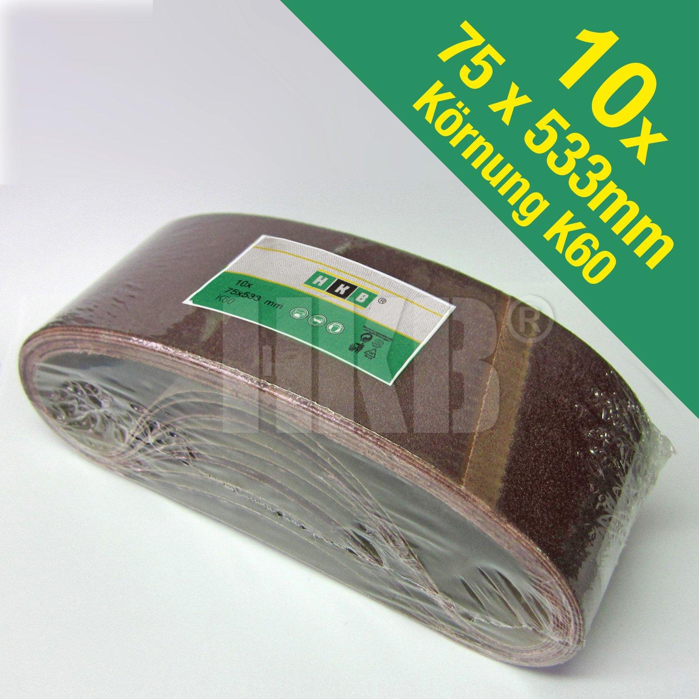 K60 Korund 75x533mm 181495 10 X Gewebe-Schleifbänder Profi-Qualität