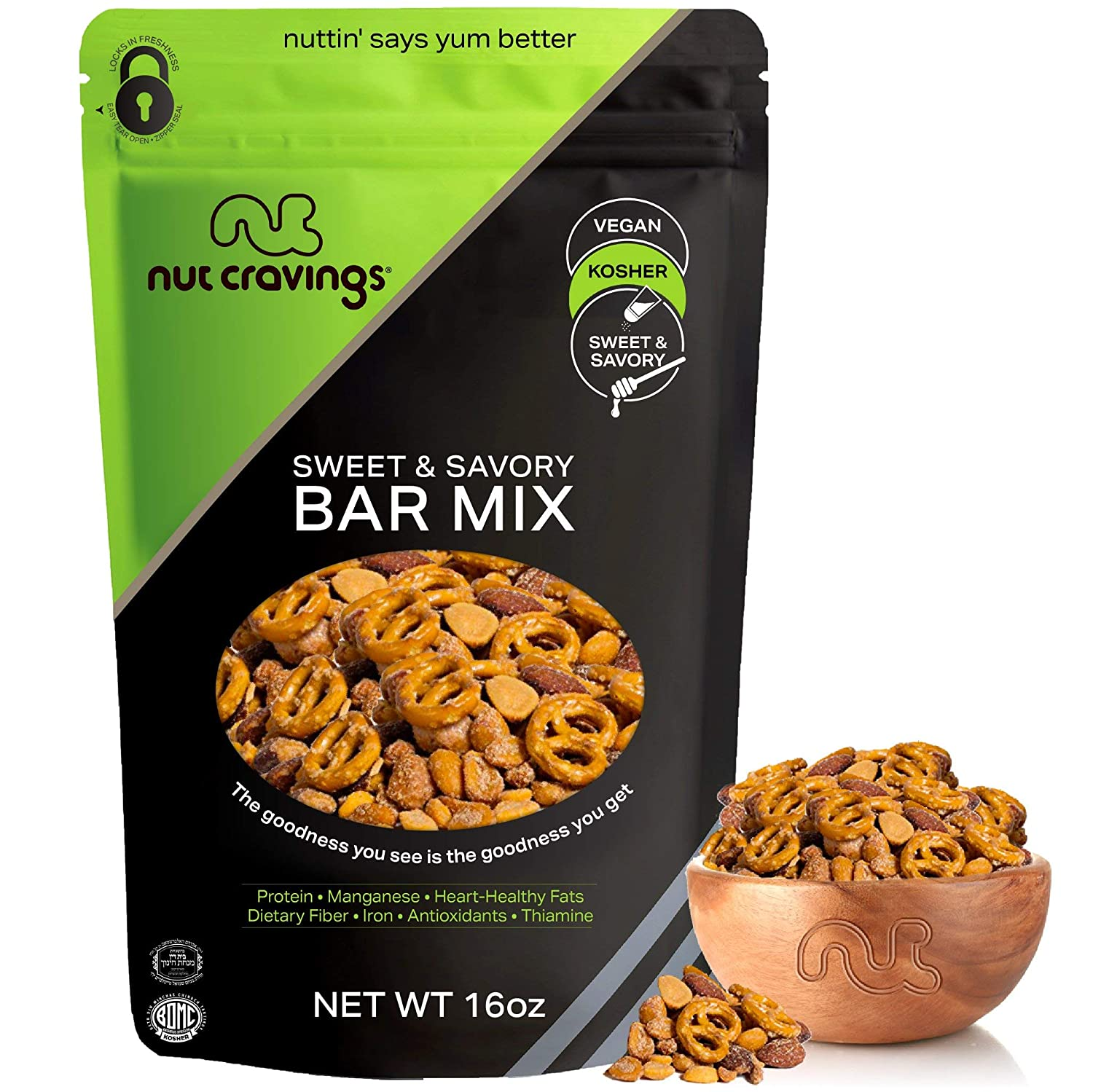 Party Bar Nut Mix, Sweet & Savory Pub Snack - Smoked Almonds, Pretzels, Toffee Peanuts, Spicy & Honey Roasted Peanut (16oz - 1 Pound) Packed Fresh in Resealable Bag - Healthy Protein Food, Kosher