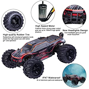 1:10 Scale Remote Control Car Truck, 80+ KM/H High Speed RTR RC Truck, 2.4GHZ Radio Controlled Electric RC Car, 4WD 4x4 Off Road Monster Truck for Adults, IPX7 Waterproof Racing Vehicle Truck (Color: 11101-rtr)