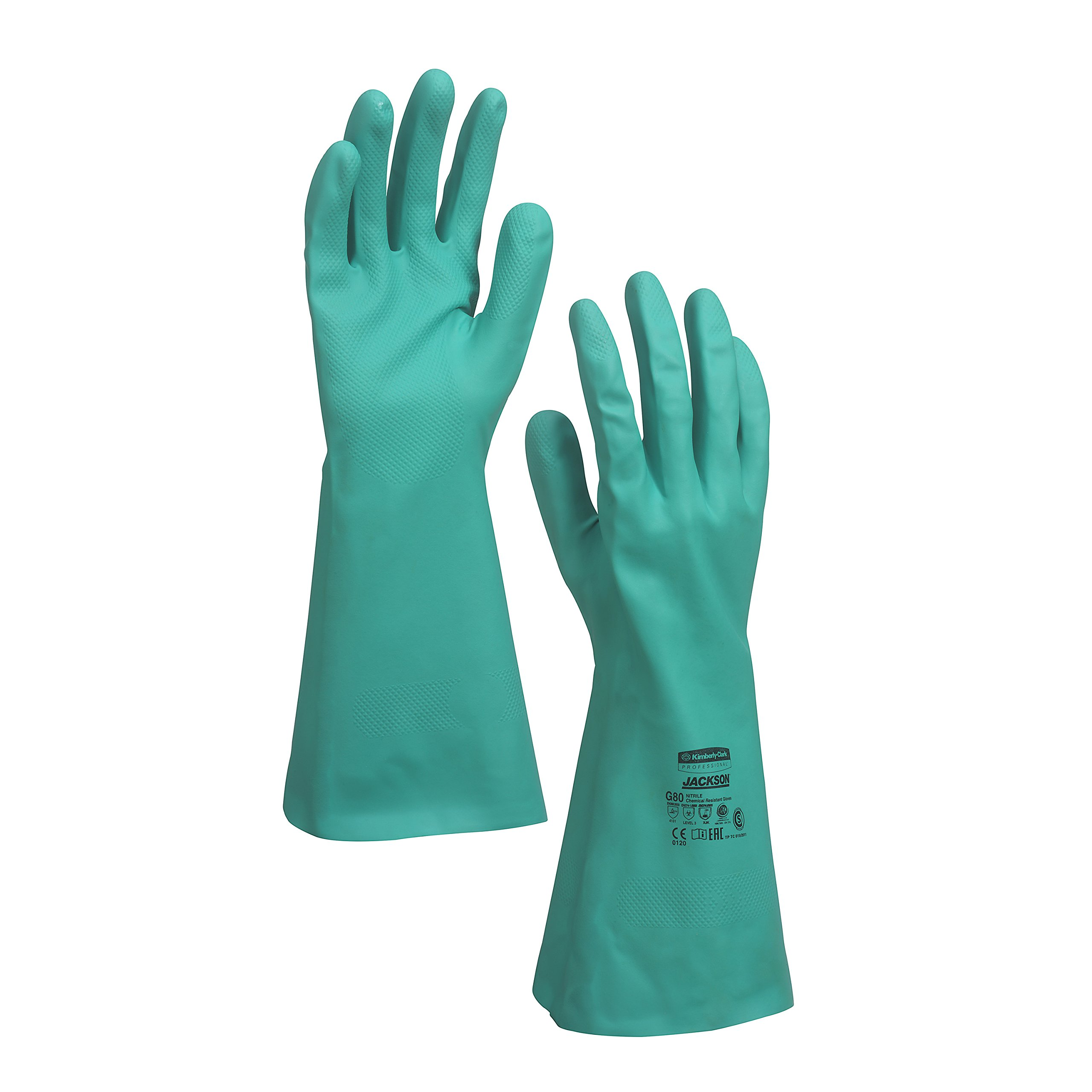Jackson Safety G80 Nitrile Chemical Resistant Gloves (94448), Green, XL (10), 13'' Long, 15 Mil, 60 Pairs/ Case, 5 Packs of 12 Pairs