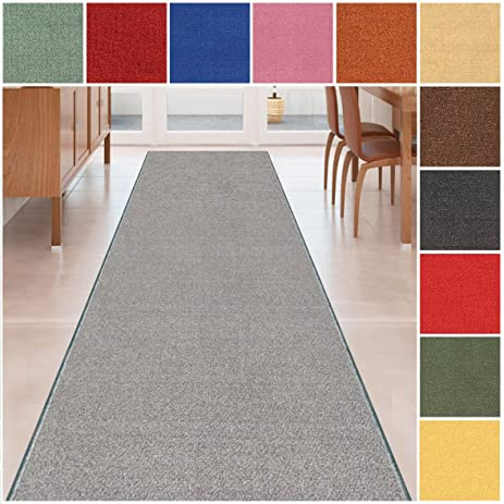 Custom Size GREY Solid Plain Rubber Backed Non Slip Hallway Stair Runner  Rug Carpet 22