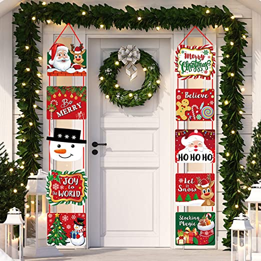 Amazon Com Christmas Decorations Welcome Xmas Sign Banners For Front Door Porch Decor Holiday Party Supplies Indoor Large Cutouts Home Kitchen