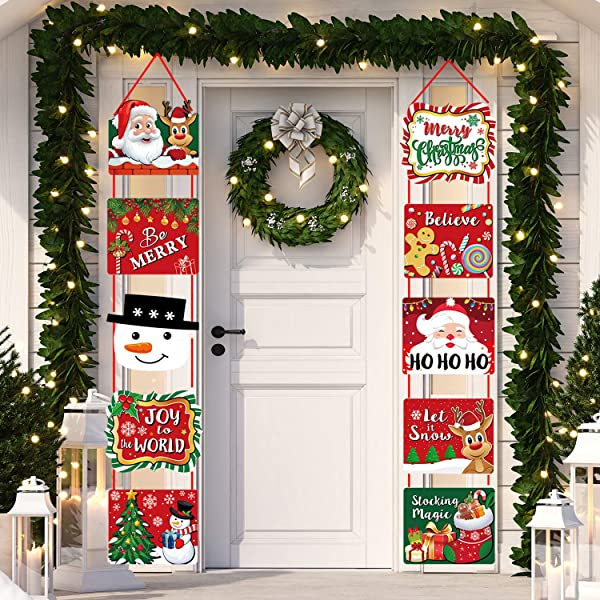Merry Christmas Decorations Christmas Banner Signs Hanging Xmas Home Decor Door Sign Red Party Supplies For Indoor Outdoor Large Cutouts Amazon Com Au Health Personal Care