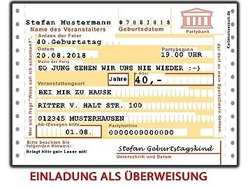 Einladungskarten Zum Geburtstag Als Uberweisung 50 Stuck Namen