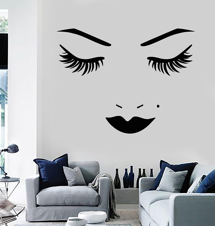 Amazon com vinyl wall decal face lips eyelash beauty salon makeup stickers large decor 898ig black home kitchen