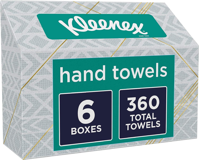 Amazon Com Kleenex Hand Towels Single Use Disposable Paper Towels 6 Boxes 60 Towels Per Box 360 Towels Total Health Personal Care