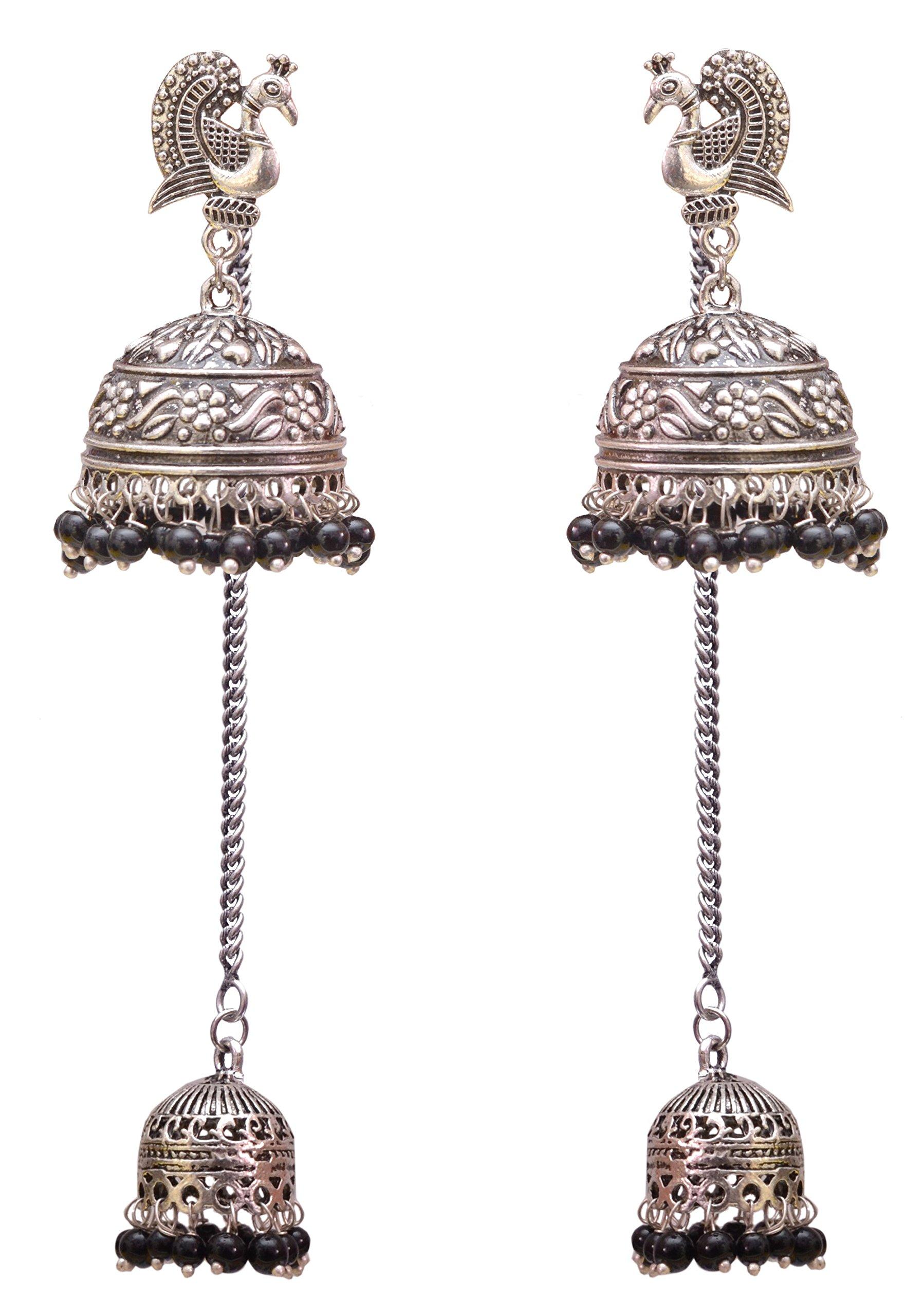 Sansar India Oxidized Kashmiri Jhumka Jhumki Indian Earrings Jewelry for Girls and Women