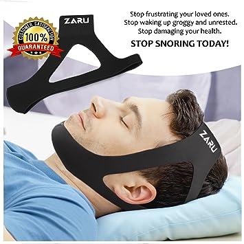 premium anti snore chin strap by zaru advanced snoring aid designed to stop snoring