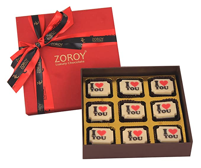 Zoroy Luxury Chocolate Valentines Day Love Gift Box Of 9 I Love You