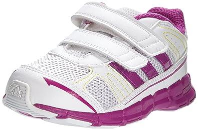 Adidas Performance Adifast Cf I Q23370, Unisex-Baby Sneaker, Weiß (running White Ftw/vivid Pink S13/vivid Yellow S13), Eu 25 (uk 25)