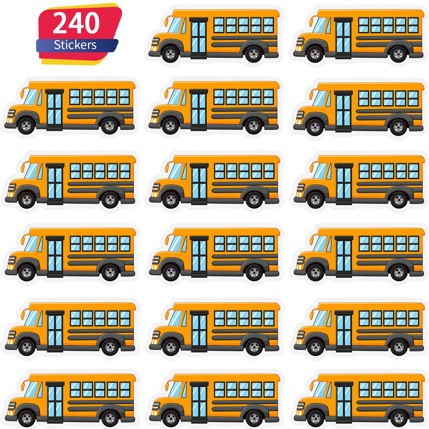School Bus Stickers Mini Yellow Bus Stickers for Scrapbooking, Calendars, Kids DIY Arts and Crafts, Album (12 Sheets)