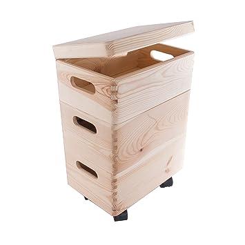 Search Box Conjunto de Tres pequeñas apilables Cajas con Ruedas en el Pecho de Almacenamiento de Madera/Juguetes/baúl: Amazon.es: Hogar