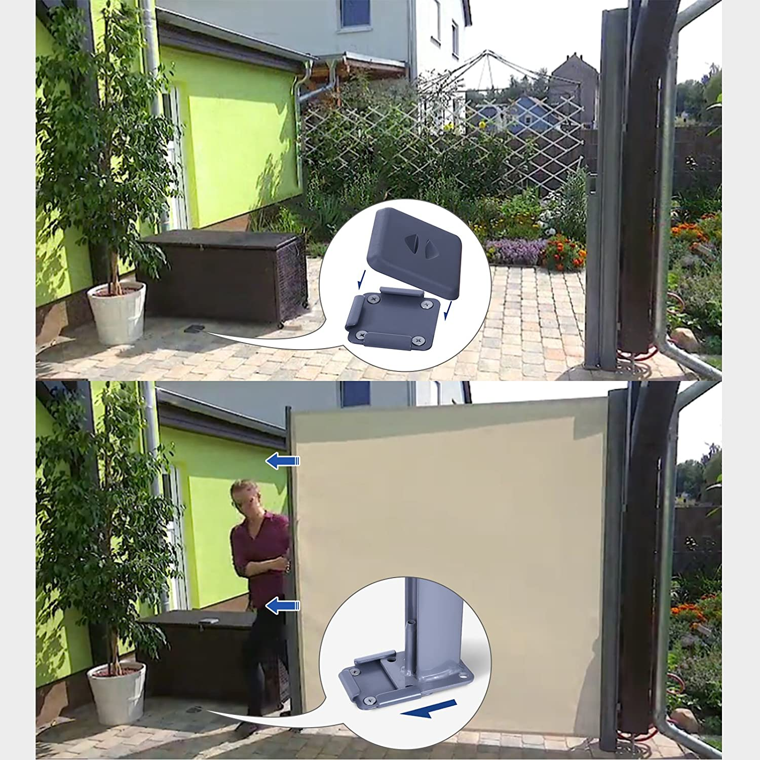 Side Blind H x L SONGMICS 160 x 350 cm Privacy Protection Beige GSA165E Sun Shade Side Awning for Balcony and Terrace