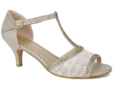 f5a9a1a65fe MaxMuxun Women Party Dance Latin Shoes Ankle Strap Buckle T-Strap Flared  Lace Sparkling Glitter